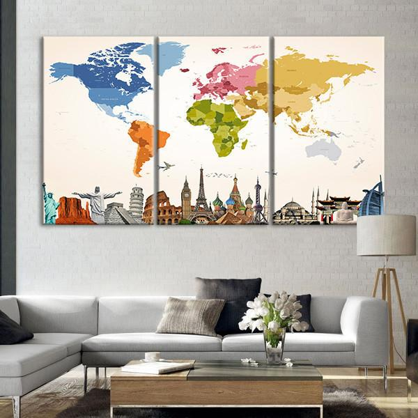 Vintage Colors World Map Masterpiece Multi Panel Canvas Wall Art In 2020 World Map Wall Art Color World Map Map Wall Art