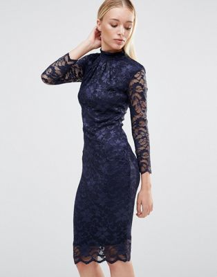 City goddess long sleeve midi dress with lace sleeves