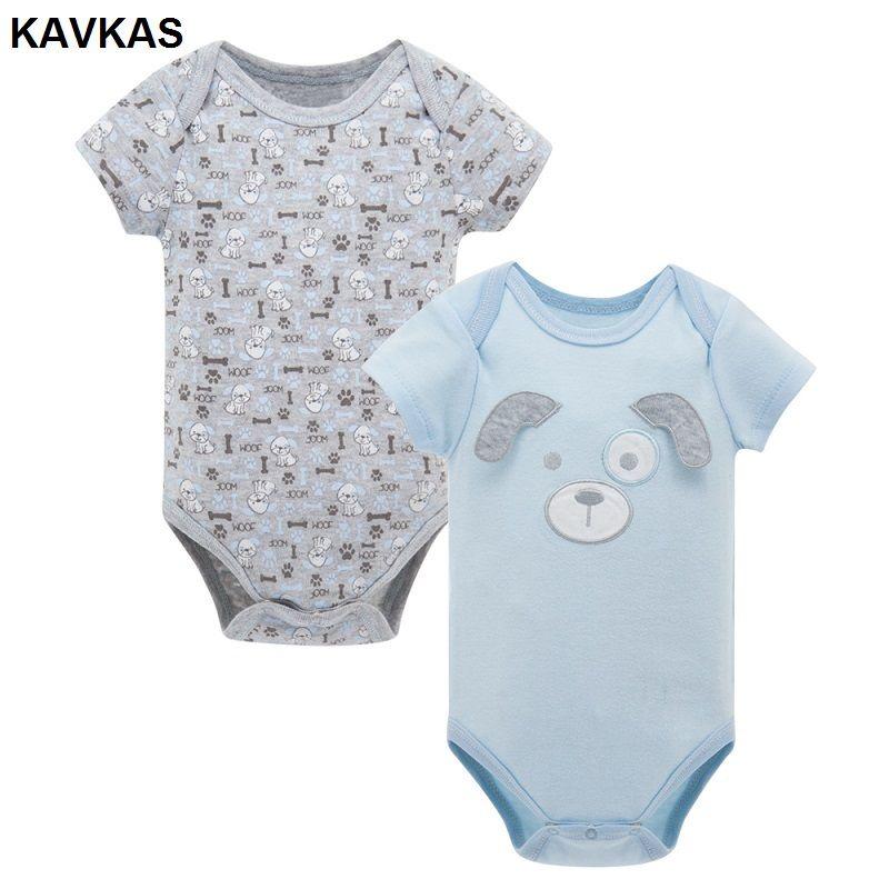 474b658d4b68 2pcs set KAVKAS Baby Boys Girls Short Sleeve Rompers For Summer 2017 Newborn  Infant s Clothes
