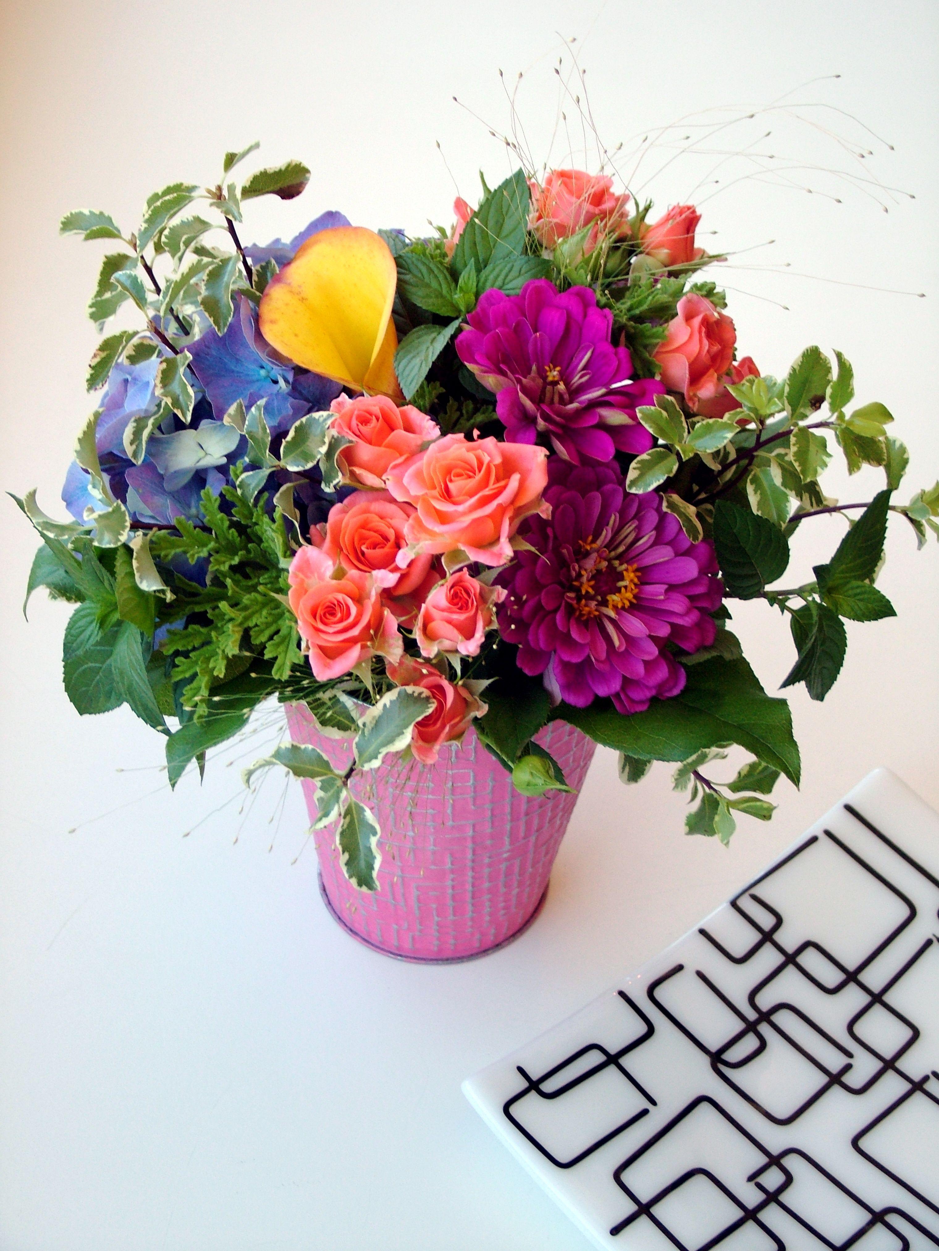 Hydrangea, Calla Lily, Spray Rose, and Zinnia