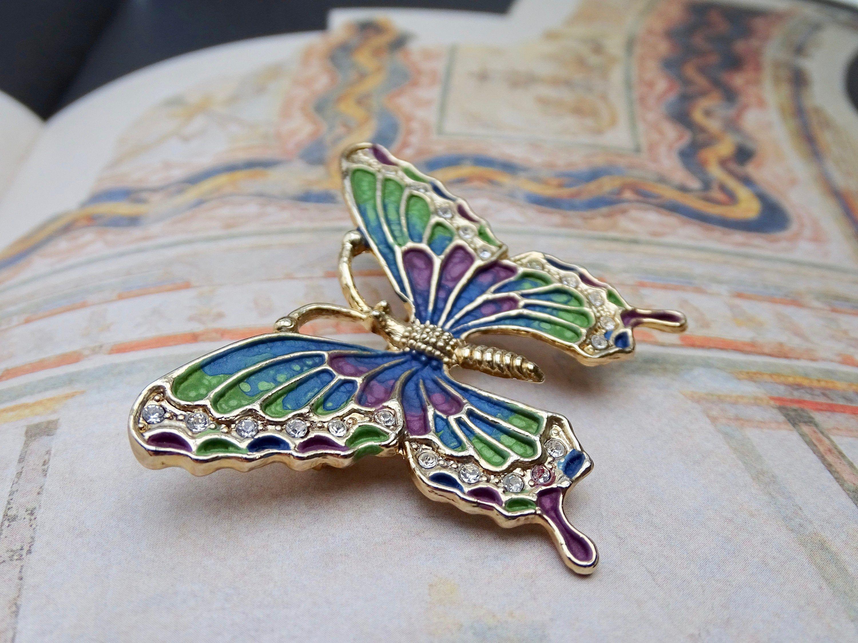 Enamel colourful butterfly brooch pin