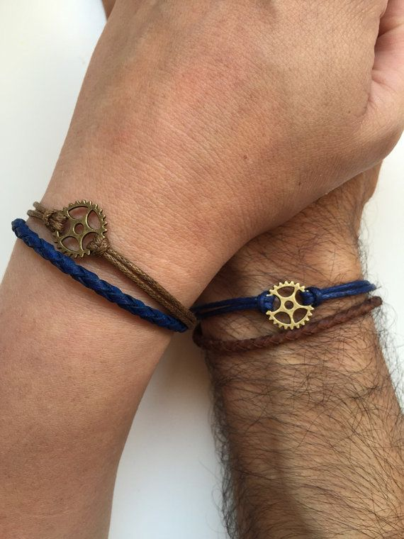 Couples Bracelets 233 Friendship Love Cuff Bronze Gear Charm