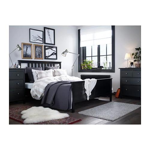 Hemnes Bed Frame Black Brown Queen Ikea In 2021 Bedroom Furniture