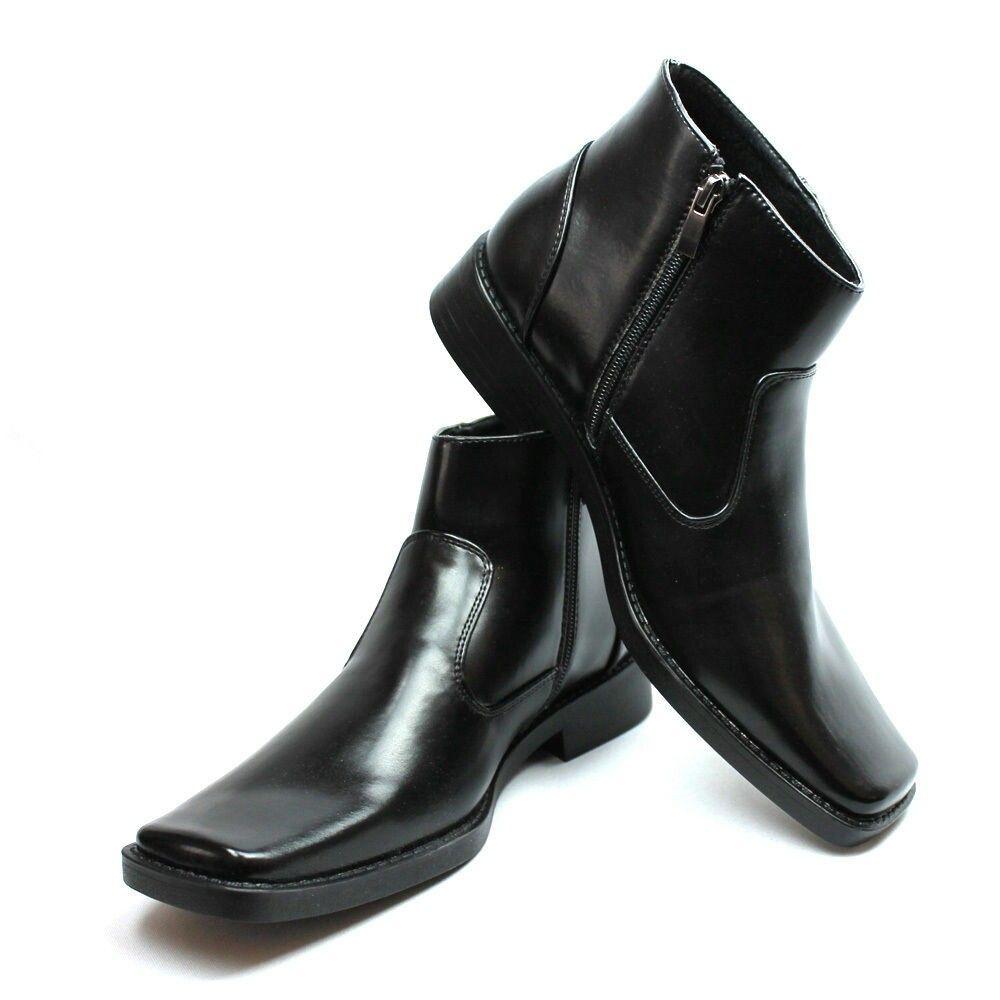 New Men's Dress Boots Black Square Toe
