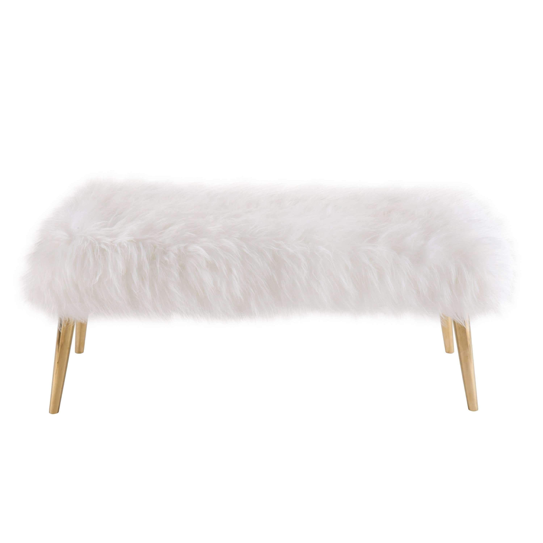 Churra White Sheepskin Bench By TOV Furniture