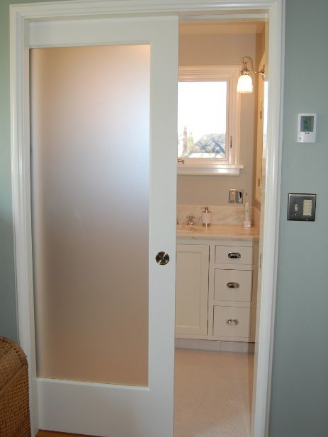 White Sliding Bathroom Doors For Small Spaces With Single Panel