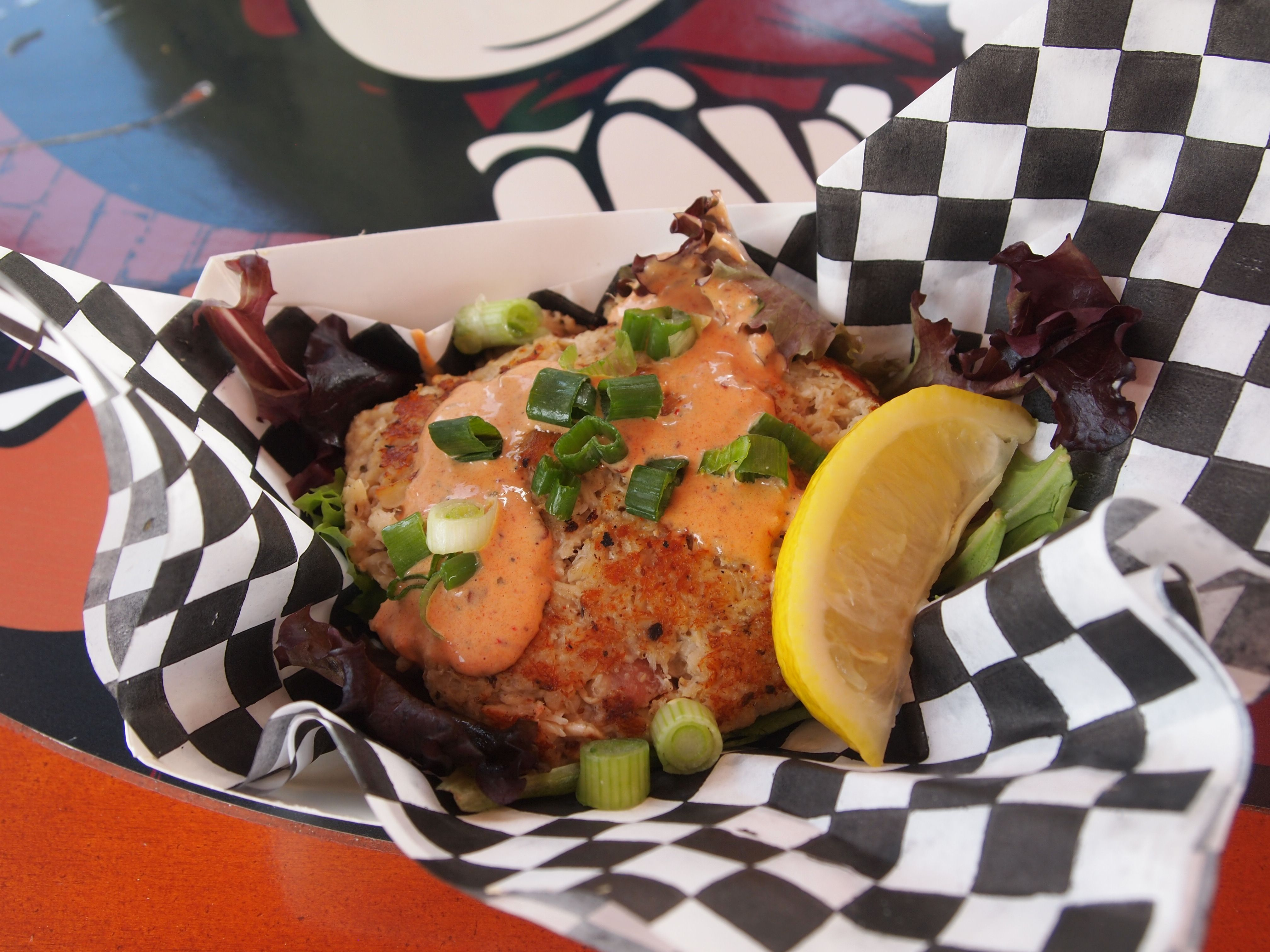 Bacon Beer Crab Cakes, infused with bacon and Sierra Nevada Kellerweis | Traveling Monk #Chandler #Arizona #FoodTruck | Best Food Truck of Arizona Festival 2014 | Photo by Kim M. Bayne for Street Food Files
