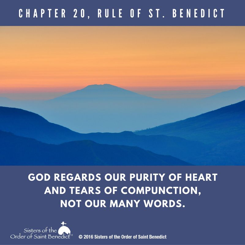 Rule Of St. Benedict, Chapter 20