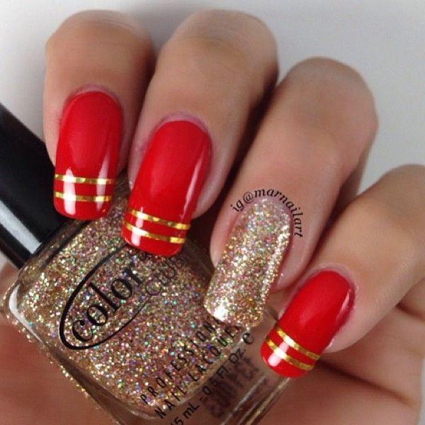 55 Gorgeous Metallic Nail Art Designs Cuded Red And Gold Nails Metallic Nail Art Metallic Nails Design