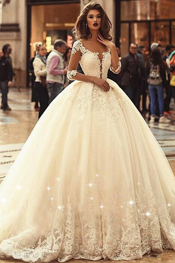 For A Fabulous Fairy Tale Cinderella Look A Ball Gown Wedding Dress Is The Only Ball Gowns Wedding Long Sleeve Ball Gown Wedding Dress Wedding Dresses Lace