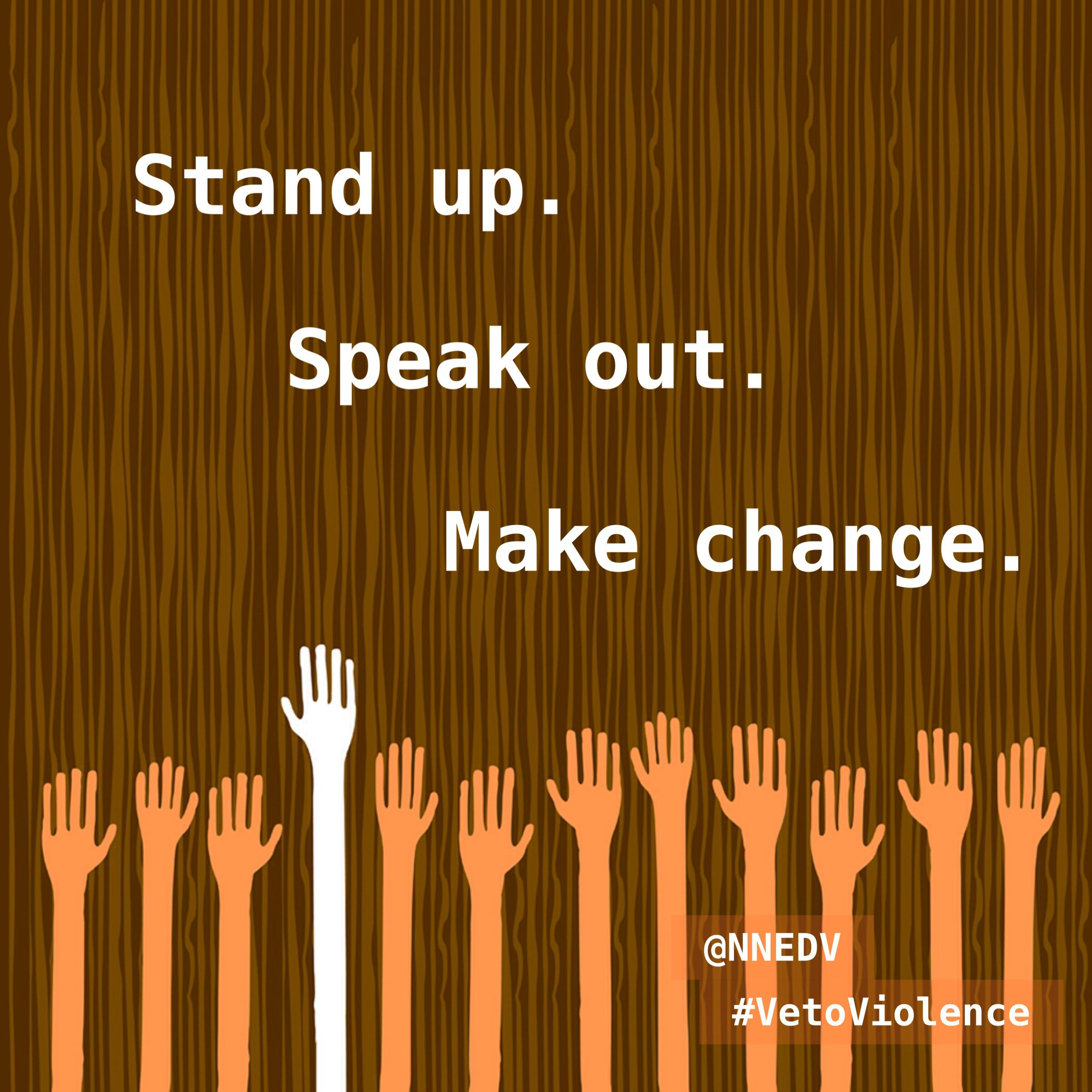Stand Up. Speak Out. Make Change. #VetoViolence Join The 1