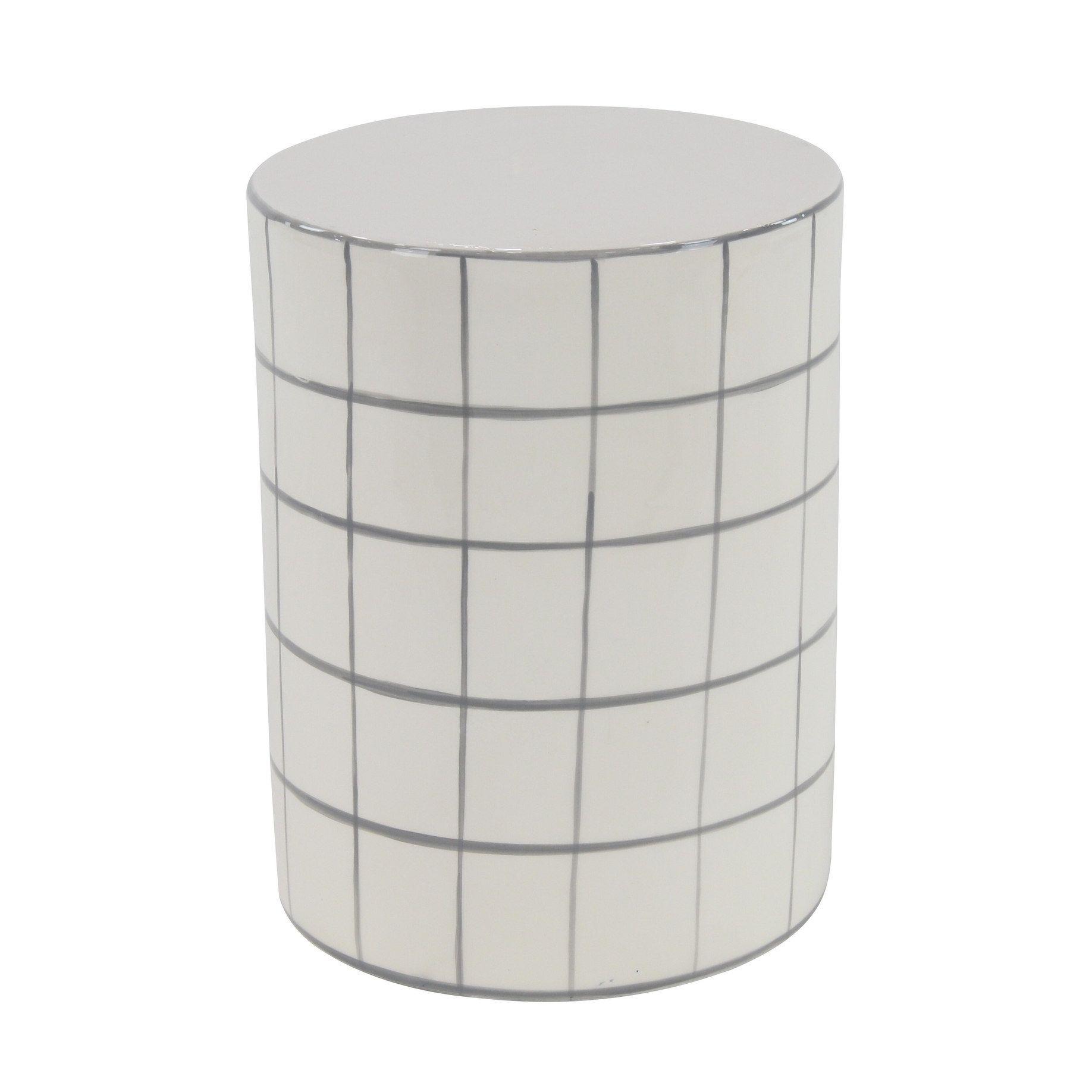 Enjoyable Modern 16 X 12 Inch White Cylindrical Ceramic Stool Studio Theyellowbook Wood Chair Design Ideas Theyellowbookinfo