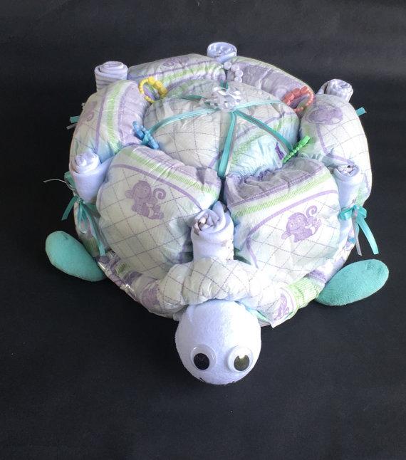 Turtle Diaper Cake Turtle Baby Shower Turtle Baby Unique Diaper