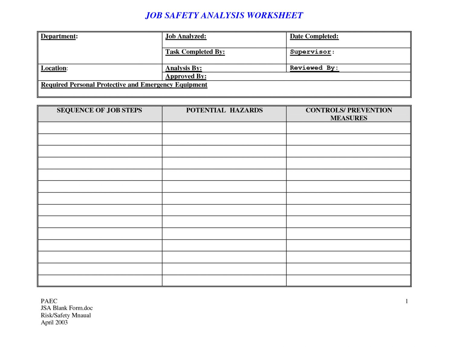 Get our example of job safety analysis worksheet template
