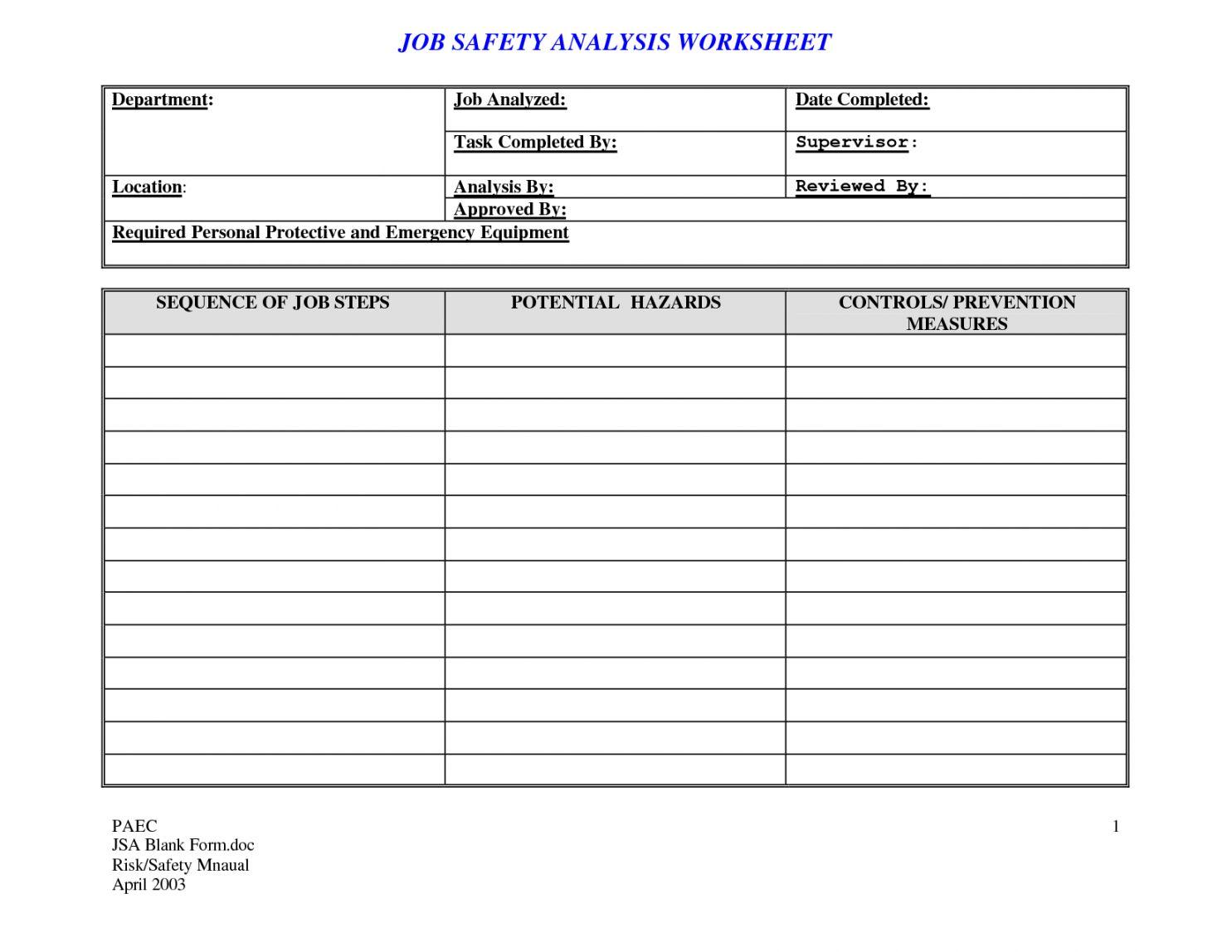 Editable Job Task Safetyysis Template For Your