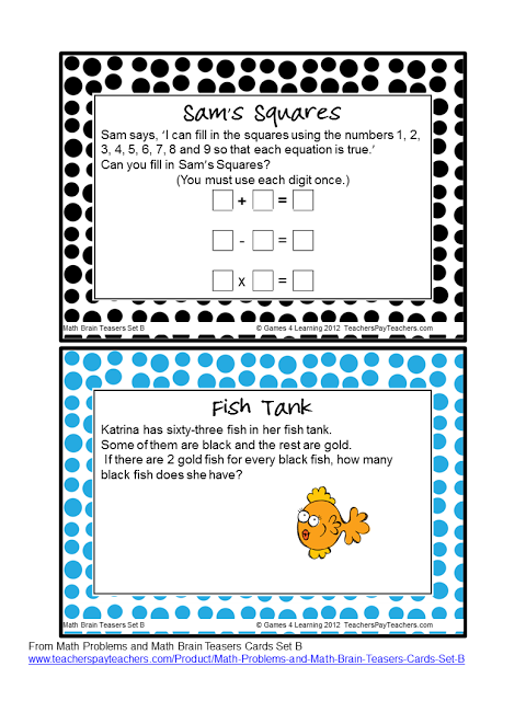 Fun Games 4 Learning Try These Brain Teasers With The Kids Math Challenge Brain Teasers Teaching Mathematics