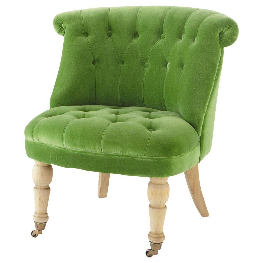 Velvet Button Armchair In Green Constantin