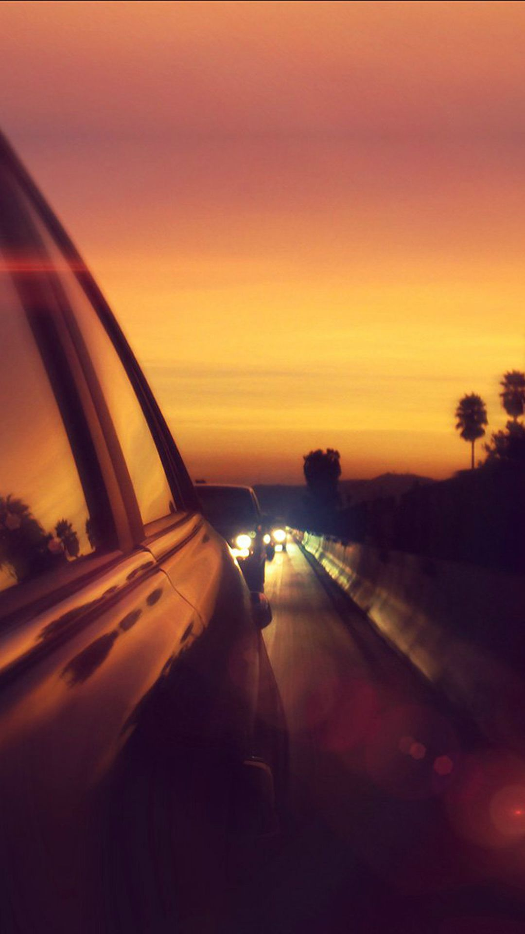 Drive Way Sunset City Highway Car Flare IPhone 6 Plus Wallpaper