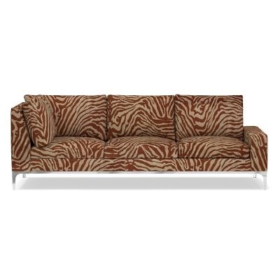 Lucca Three Cushion Corner Sofa, Standard, Right, Printed Zebra Linen, Solid, Bronze