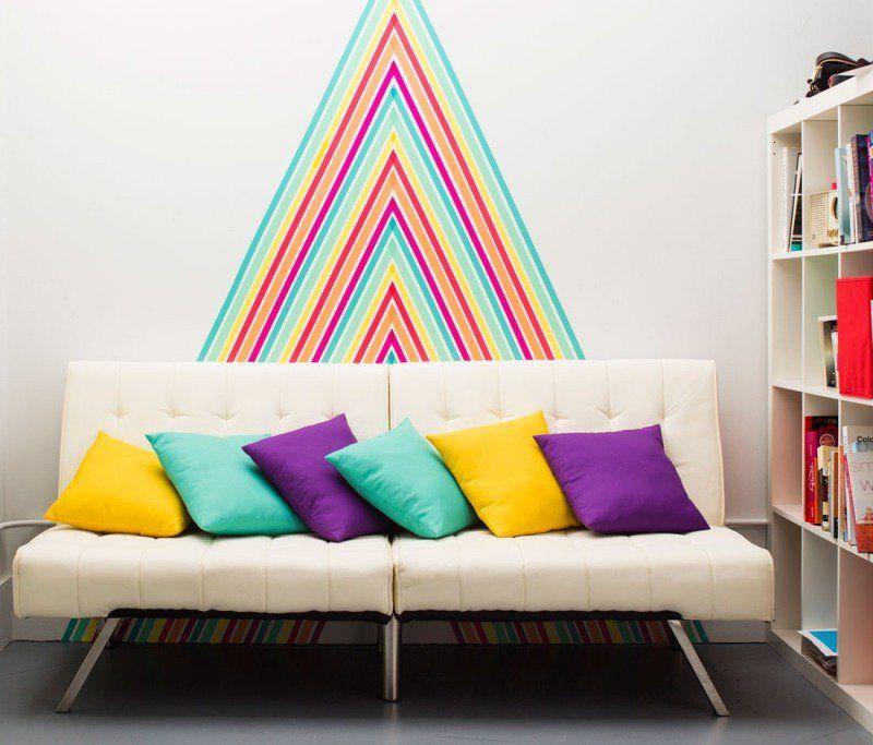 d coration murale avec masking tape en 25 id es. Black Bedroom Furniture Sets. Home Design Ideas