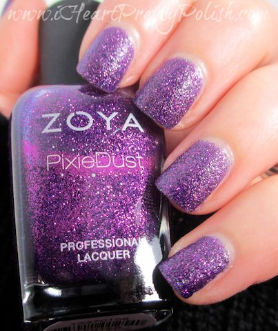 Zoya Fall 2013 PixieDust ft. Carter with and w/o Top Coat