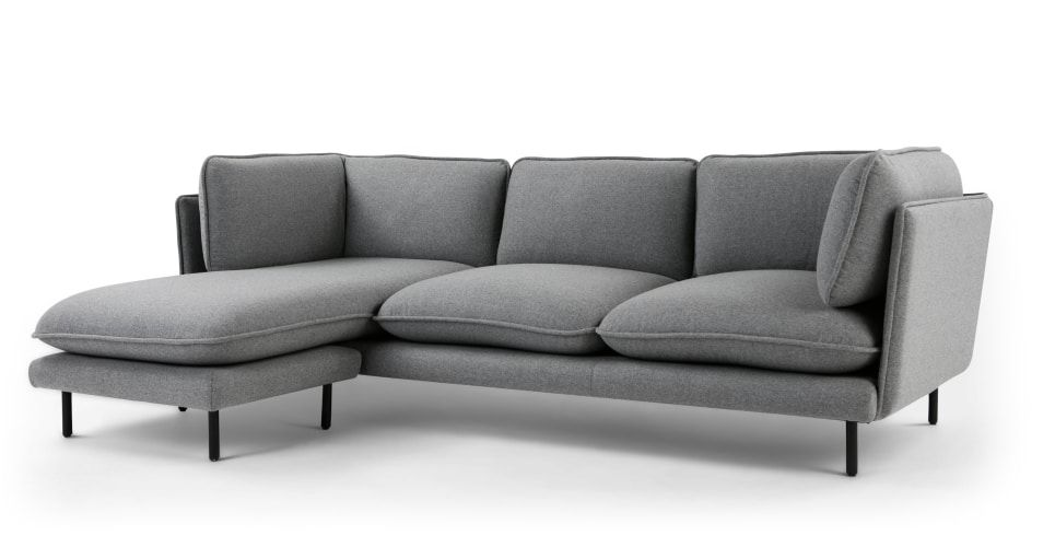 Wes Canape D Angle Gris Opale Made Com Corner Sofa Sofa Chaise