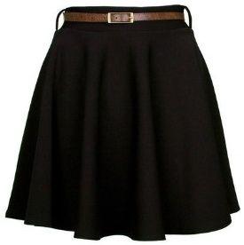 """Black Belted Skater Skirt"" by KourtneyCarter on Clothia"