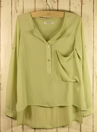 Pastel Green Asymmetric Top with Roll Up Sleeves,  Top, pastel green  drape top, Chic