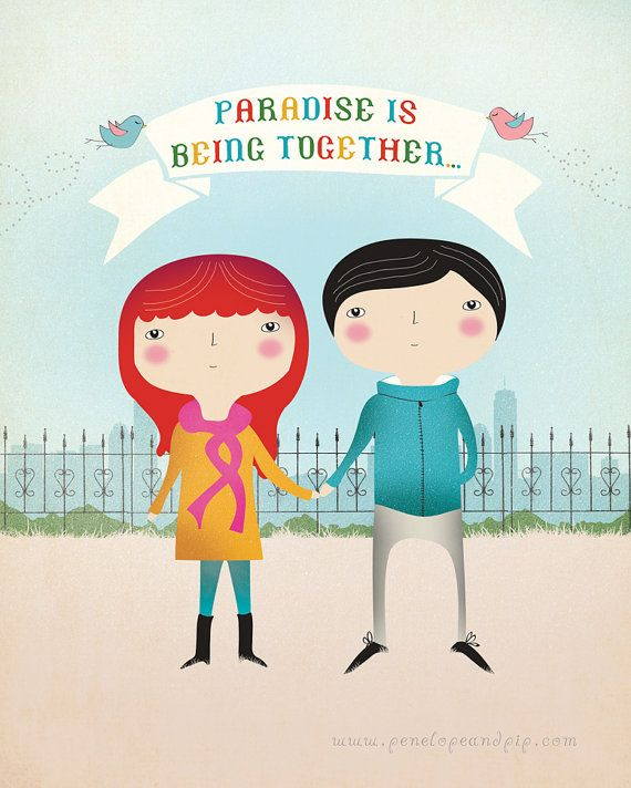 Art Print - Original illustration by Penelope and Pip, Paradise Is... Penelope and Pip etsy.com