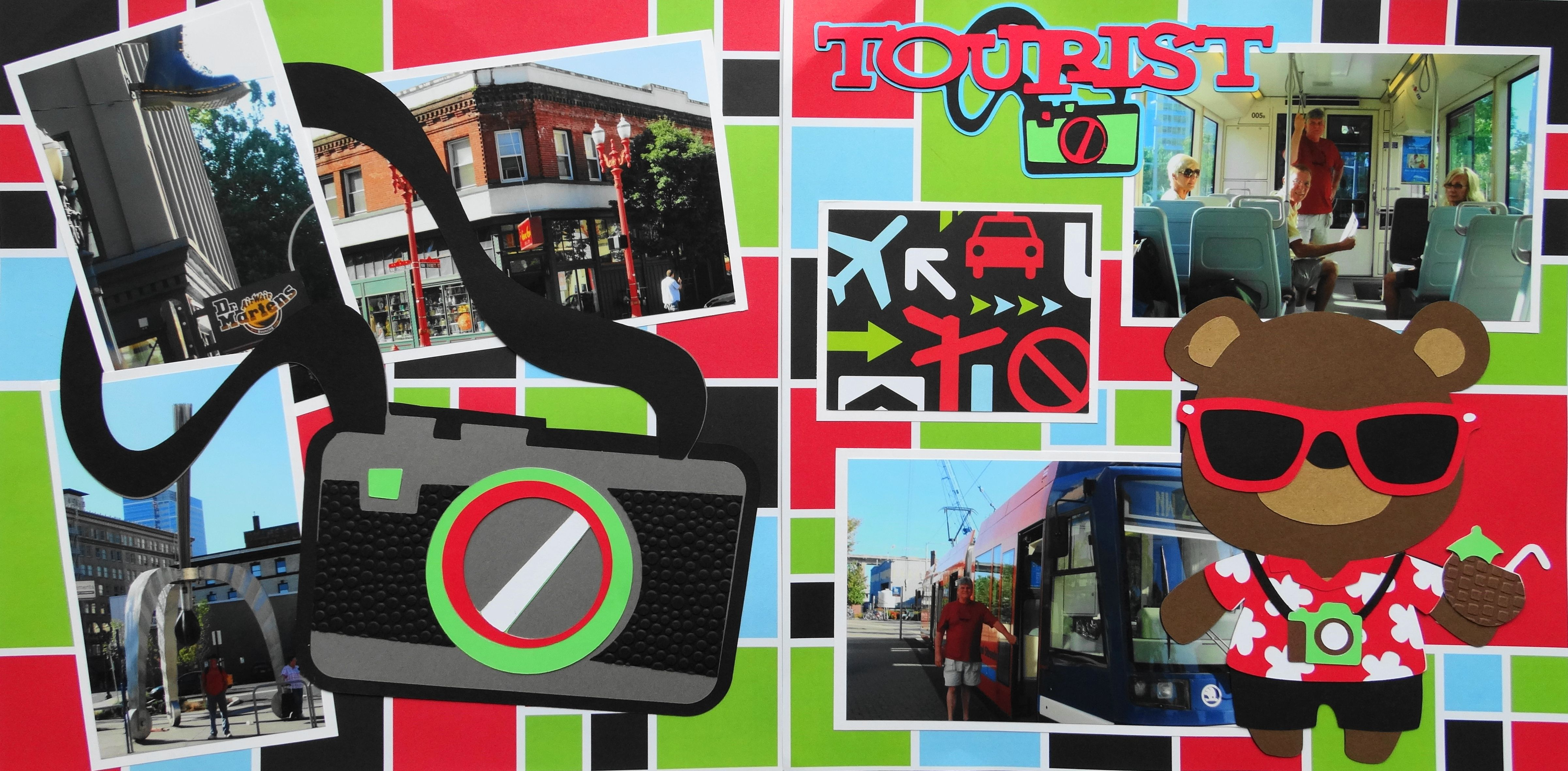 How to scrapbook a road trip - Scrapbook Page Tourist In Portland Oregon 2 Page Road Trip Layout With A