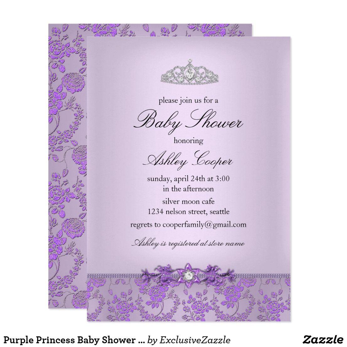 Purple Princess Baby Shower Invitation | Zazzle.com | Purple princess baby  shower, Princess baby shower invitation, Purple princess baby shower  invitations