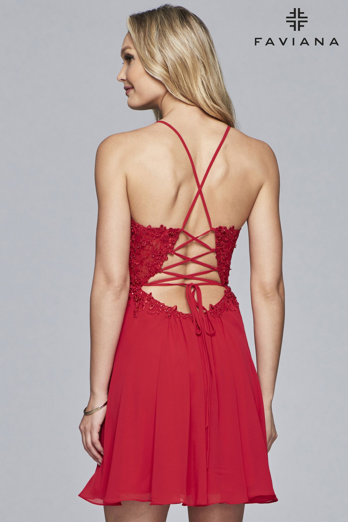 761831e807a Faviana Style 10151 is sparkling and flirtatious! This little V-neck  chiffon cocktail dress is perfectly flattering on an hourglass figure.