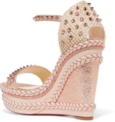 c9f2efd3ca6 Christian Louboutin - Madmonica 120 Spiked Metallic Cracked-leather  Espadrille Wedge Sandals - Pink