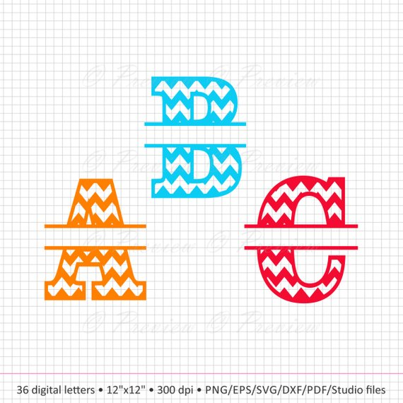 Buy 2 Get 1 Free! Digital Clipart Chevron Split Monogram Alphabet