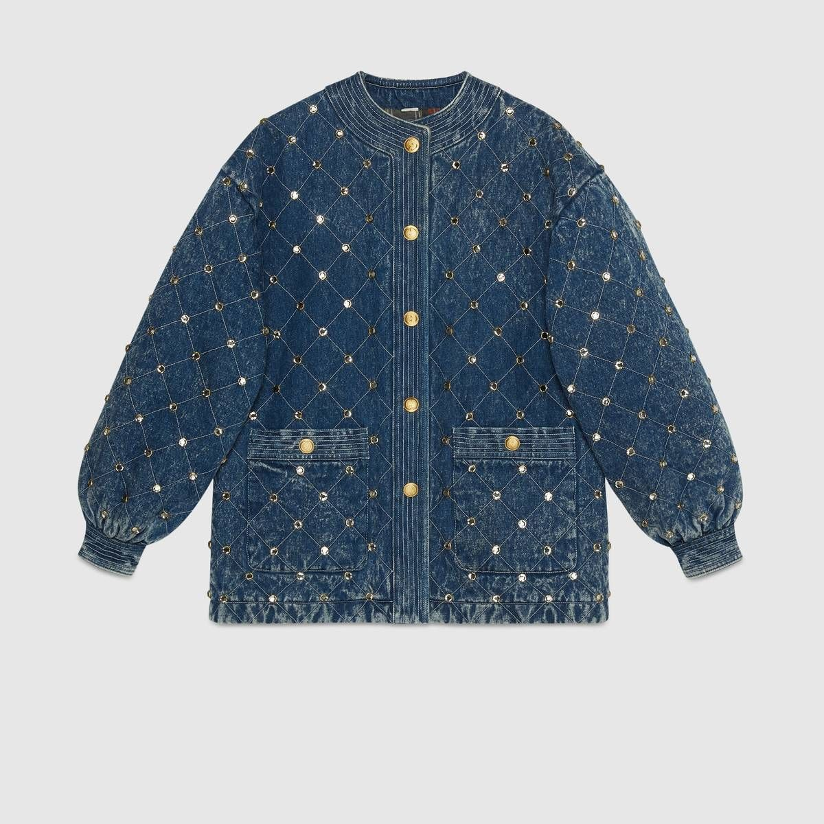 d66d4469c Shop the Quilted marble denim jacket with crystals by Gucci. A style  synonymous with the