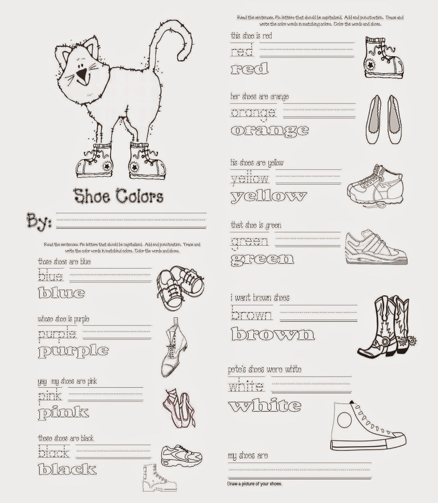easy reader for pete the cat i love my white shoes - Pete Cat Shoes Coloring Pages