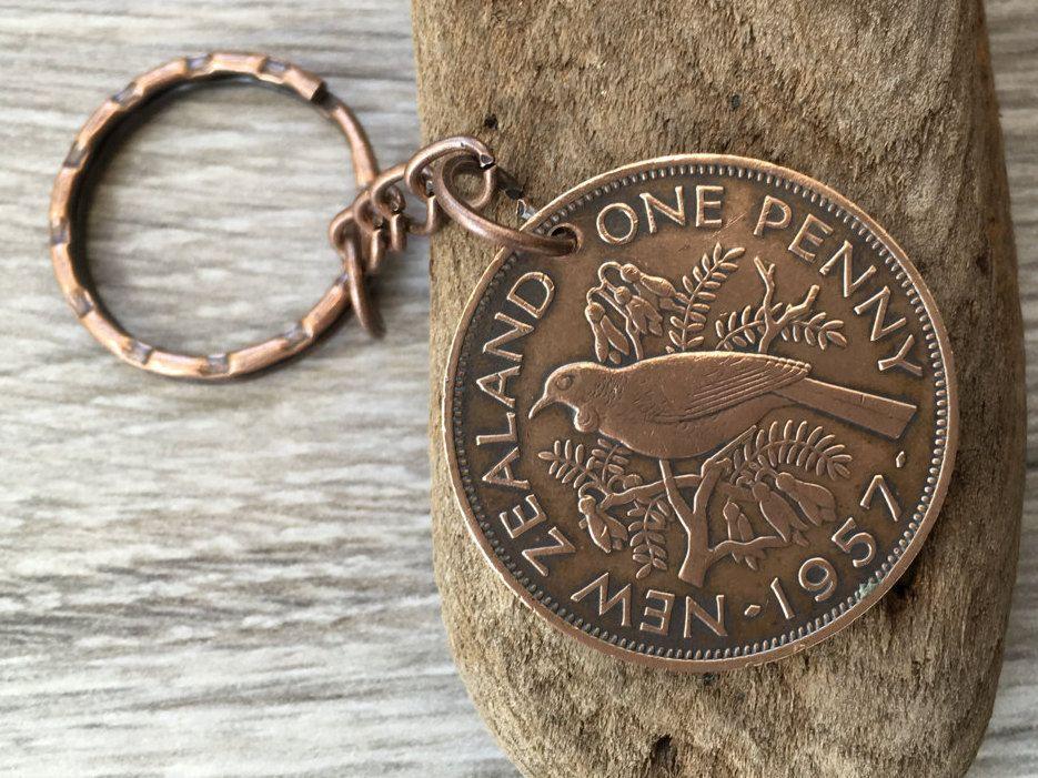60th Birthday Gift For Him New Zealand Coin Keyring 1957 Keychain Penny Pretty Bird Keyfob Present Man Dad