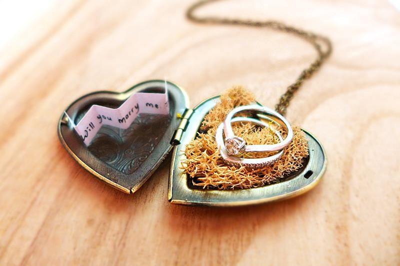 e3c1c616f Personalized Heart Locket Necklace - Hidden Message Necklace - Ring Bearer  Box - Will You Marry Me Creative Proposal Idea