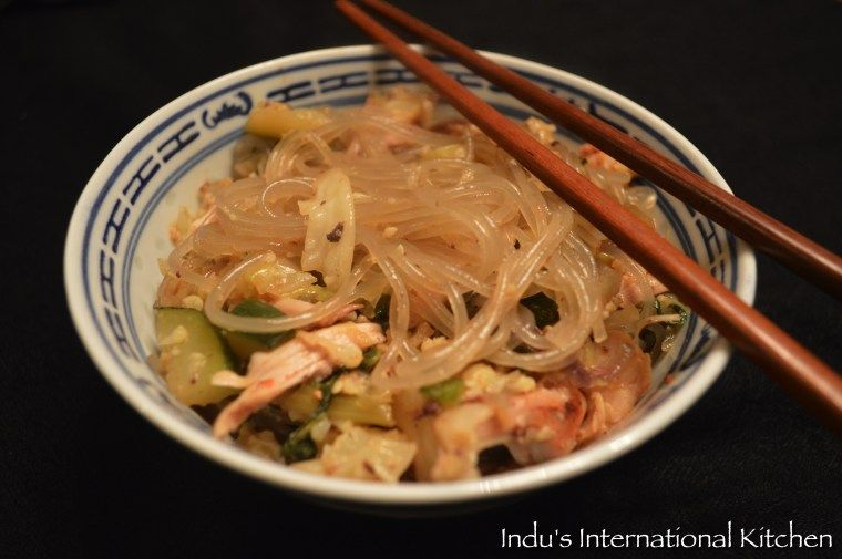 Korean Style Sweet Potato Noodles With Chicken And Vegetables