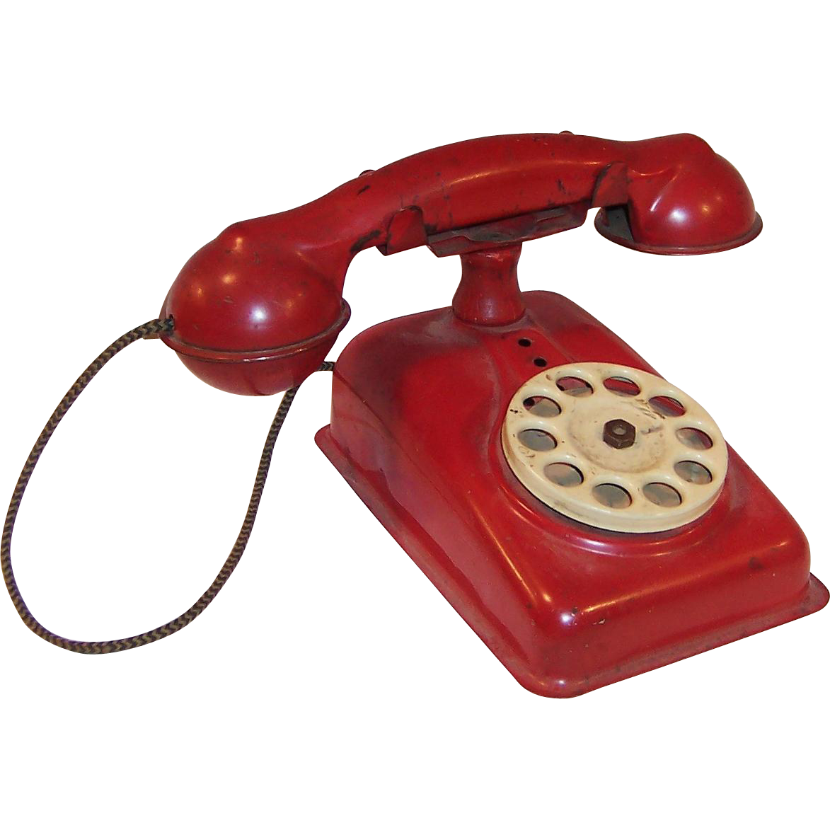 vintage red at www rubylane com rubylanecom vintage 1950 s red metal toy rotary ringing phone [ 1173 x 1173 Pixel ]