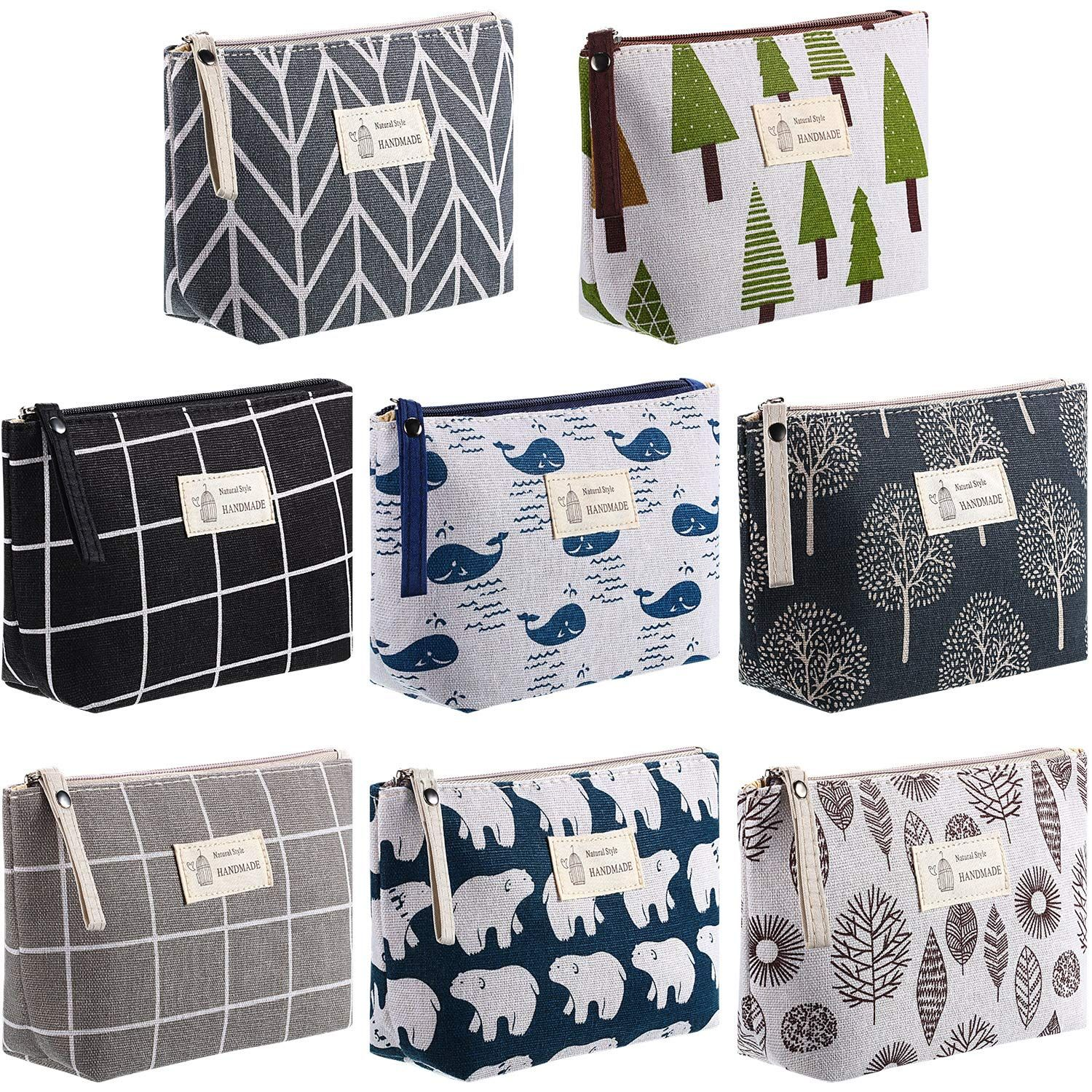 8 Pieces Canvas Cosmetic Bags Printed Makeup Bag Multi