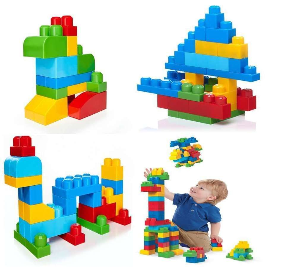 Mega Bloks Big Building Blocks Toddlers Kids Construction Toy 60 Pieces Bag Gift