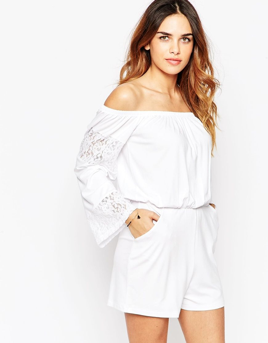dbe2330b68a ASOS Off Shoulder Gypsy Playsuit with Lace Inserts