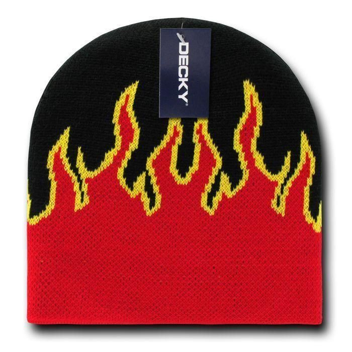 015be7c49ee Decky Fire Flames Tribal Beanies Hats Caps Ski Skull Short Uncuffed Winter