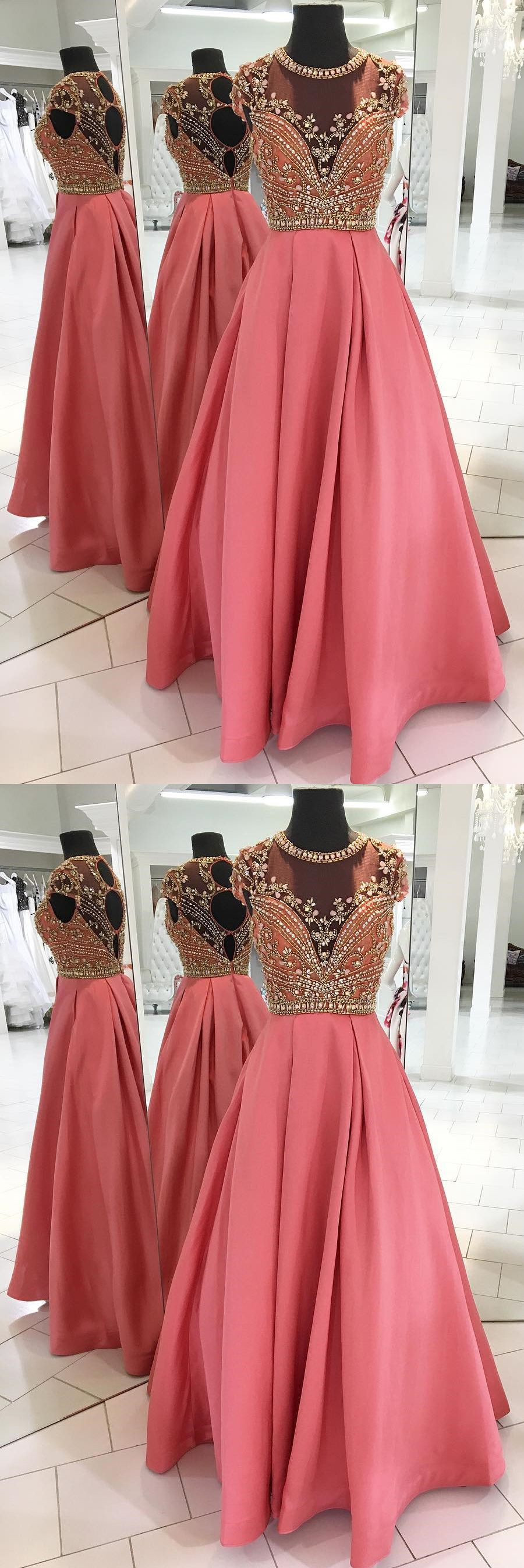 Charming aline jewel cap sleeves long prom dress with beading