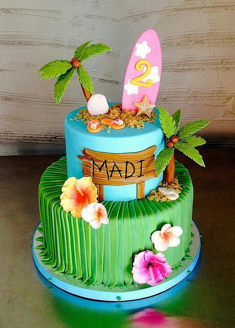 Miraculous Tropical Themed Cake With Images Luau Birthday Cakes Hawaiian Personalised Birthday Cards Cominlily Jamesorg