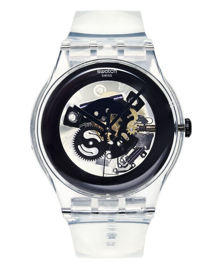 Swatch Watch, Unisex Swiss Black Ghost Clear Plastic Strap 43mm ...