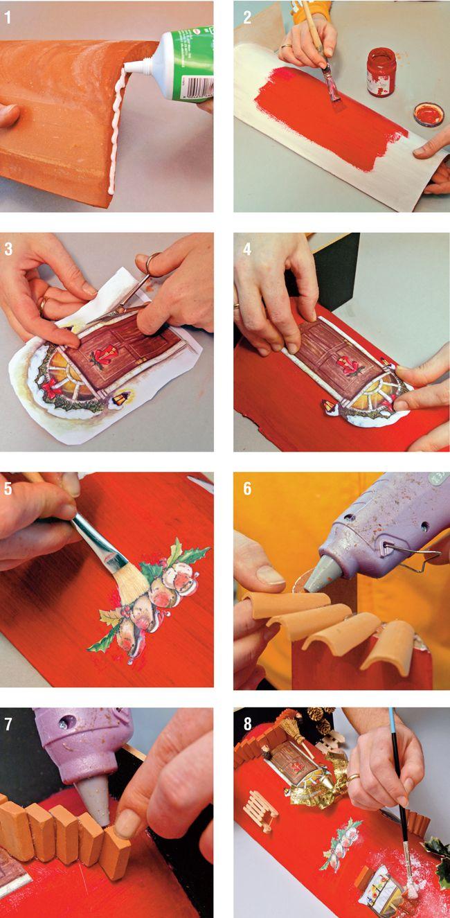 Come Dipingere Vecchie Tegole tegole decorate a mano | fai da te decoupage, tegole, decoupage