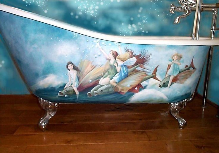 Water Fairies Painted Porcelain Tub Cast Iron Bathtub