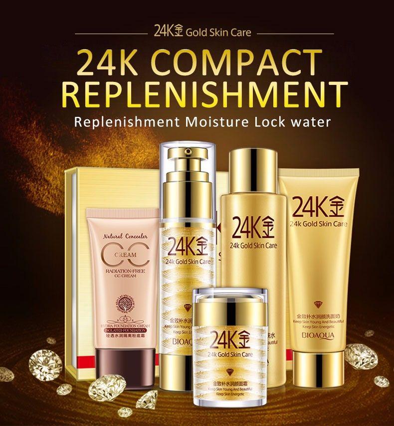 24k Golden Skin Care Beauty Makeup Cosmetics Set Skin Price 39 50 Free Shipping Hashtag4 Facial Skin Care Skin Care Skincare Set